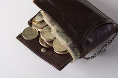 Old purse & money Royalty Free Stock Photos