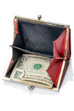 Old purse with one dollar Stock Photo