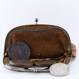 Old purse is open. Old leather purse with silver coins of tsars of House of Romanovs of 18-19 centuries Stock Images