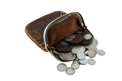Old purse silver coins. Ancient leather purse with silver and copper coins Royalty Free Stock Images