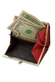 Old purse with two dollars Stock Images