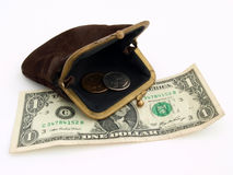 Old purse with two dollars, on a white background Royalty Free Stock Photography