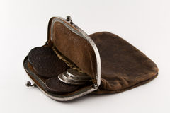 Old purse will be turned. Old leather purse with silver coins of tsars of House of Romanovs of 18-19 centuries Stock Photography