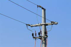 Old pylon power of high tension Royalty Free Stock Photo