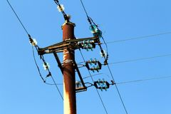 Old pylon power of high tension Royalty Free Stock Photography