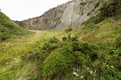 Old quarry in Normandy France cloudy sky Royalty Free Stock Images