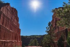 Old quarry in red rocks canyon open space. royalty free stock photography