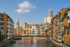 The old quarter of Girona with Onyar river. Stock Images