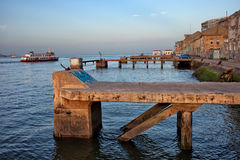 Old Quay Waterfront in Almada Stock Photo