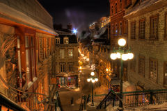 Old Quebec. By a cold winter night Royalty Free Stock Images