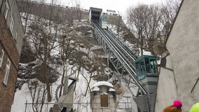Old Quebec, Canada Funicular railway links Upper and Lower Town. Royalty Free Stock Image