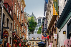 Old Quebec city with historic buildings. View of Old Quebec city with historic buildings, restaurants  and funicular on back ,Quebec, Canada Royalty Free Stock Photo