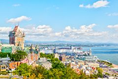 Old Quebec City Skyline With Frontenac and St Lawrence River. View of Old Quebec skyline and surrounding landscape with Chateau Frontenac, Dufferin Terrace royalty free stock photo