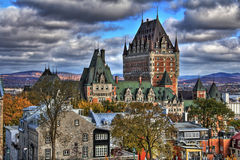 Old Quebec. Dramatic clouds in Old Quebec - Canada. High Dynamic Range picture Stock Photography