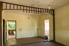 Old Queenslander house needing renovation, peeling paint interio. Inside an old house ready for renovation Stock Photos