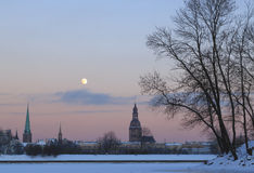 Old Rīga. The full moon of the winter night, the Old Rīga silhouette Royalty Free Stock Photos
