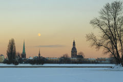 Old Rīga. The full moon of the winter night, the Old Rīga silhouette Royalty Free Stock Photography