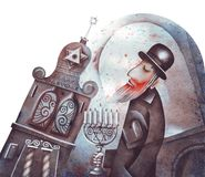 The old rabbi. Original watercolor illustration of a orthodox prayer Royalty Free Stock Photography