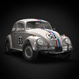 Old Race Car. 3D render of Old Race Car on black background Stock Photos