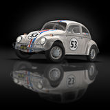 Old Race Car 2. 3D render of Old Beetle Car on black background Stock Photos