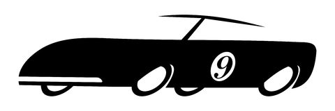 Old race car. In black and white Stock Photo