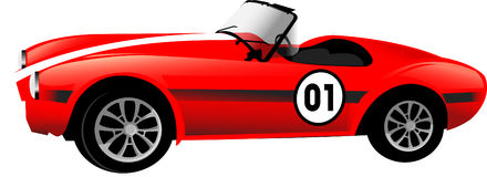 Old race red car. Vector illustration Royalty Free Stock Photo