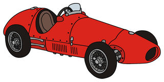 Old racing car. Hand drawing of vintage racing car Stock Images