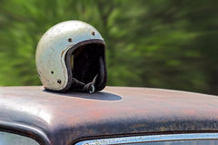 Old racing helmet Stock Image