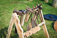 Old rack with blacksmith's tool Royalty Free Stock Image