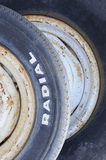Old radial tires. Closeup of two old radial tires stock photo
