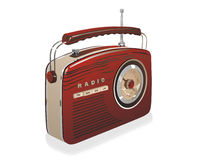 Old radio. Red old radio on white background Stock Image