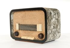Old radio (50`s style). With a few scratches and stains  on white background Royalty Free Stock Photo