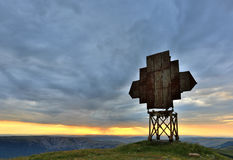 Old radio antenna in mountains Royalty Free Stock Photo