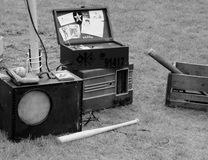 Old radio and Baseball Bat Royalty Free Stock Images
