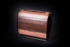 An old radio. An old and  radio on black background Stock Photography