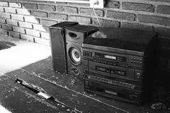 Old radio black and white. Close Stock Image