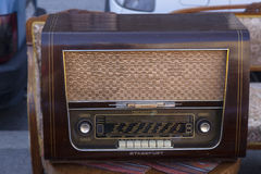 Old radio at flea market. Old German radio on sale at the flea market in Zagreb Croatia royalty free stock image