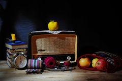 Old radio with fruit Stock Photography