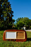 Old radio on a grass background Stock Photography