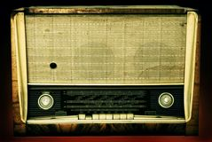 Old radio isolated on a dark background Stock Photos