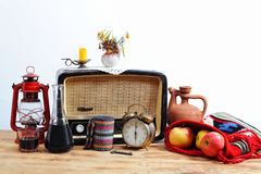 Old Radio and Lantern Stock Photo