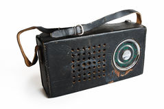Old radio in a leather case Stock Images