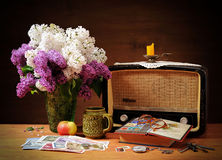 Old radio, lilac and books Stock Image