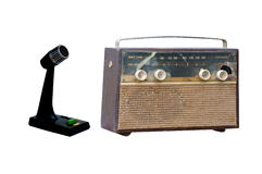 Old radio and microphone Royalty Free Stock Photography