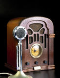 Old Radio and Microphone. Royalty Free Stock Photo