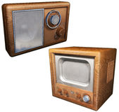 Old radio and old television set Royalty Free Stock Photo