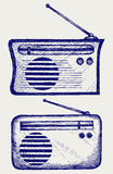 Old radio receiver. Doodle style vector illustration