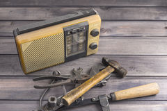 Old radio receiver old tools Royalty Free Stock Image