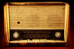 Old radio on a red background Royalty Free Stock Photography