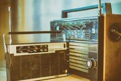 Old retro style radio. Old radio retro style vintage photo 80s year Royalty Free Stock Images